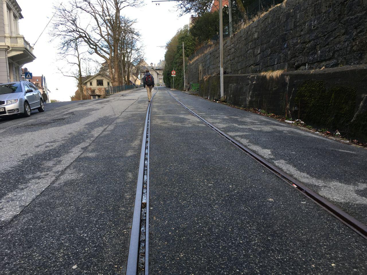 Museum tram rails on Møhlenpris