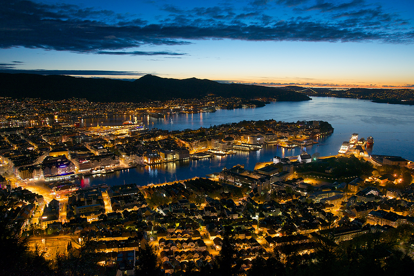 Fløyen view by night