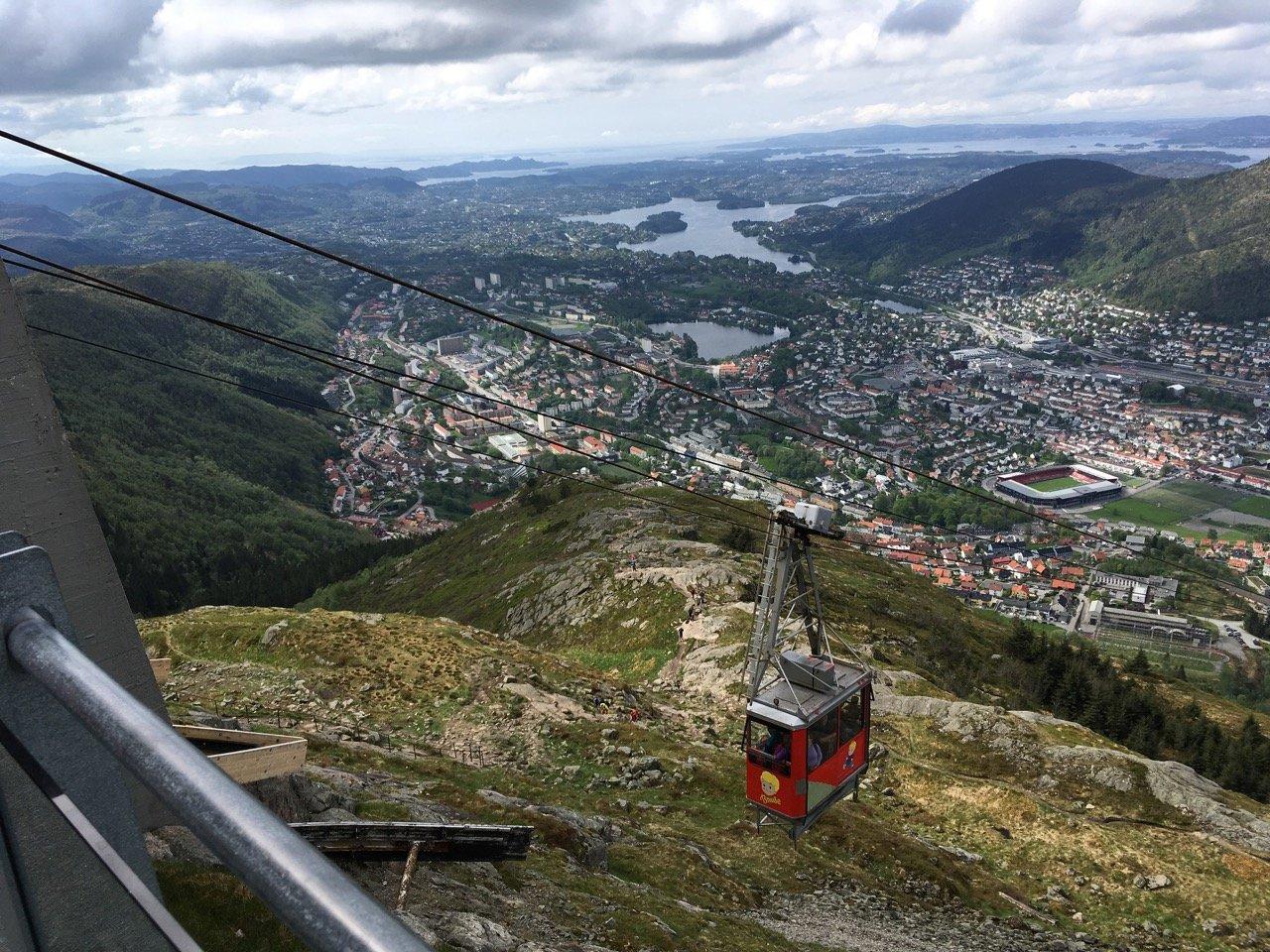 Ulriksbanen cable car line. Photo.